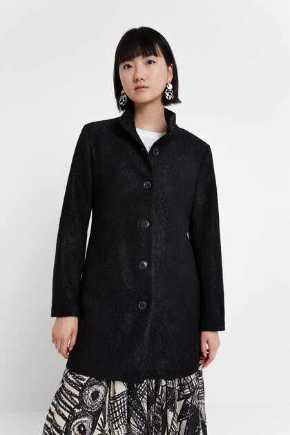Double-breasted funnel neck coat