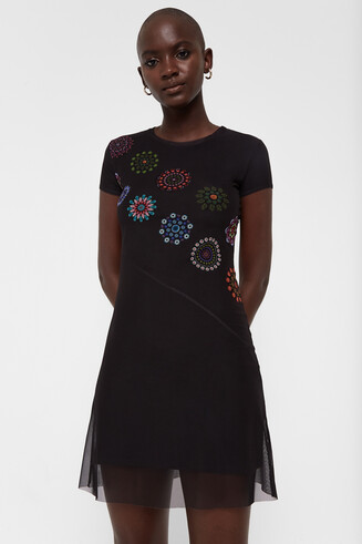 Short sleeve dress tulle and mandalas
