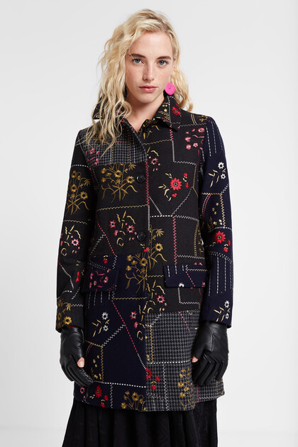 Patchworkowy płaszcz w kwiaty