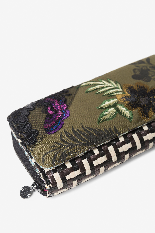 Portemonnee met gebloemde patch en raffia