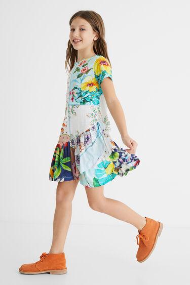 Dress floral patch flounce | Desigual