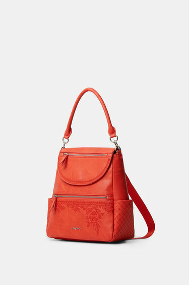Backpack leather effect flowers | Desigual