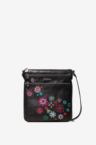 Black square sling bag triple outer compartment