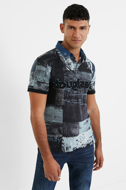 Cotton denim collar polo shirt