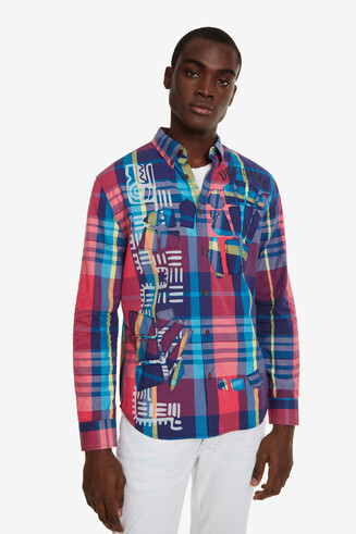 Print and Check Shirt