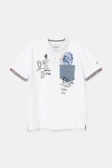 Polo shirt with messages and a lion | Desigual