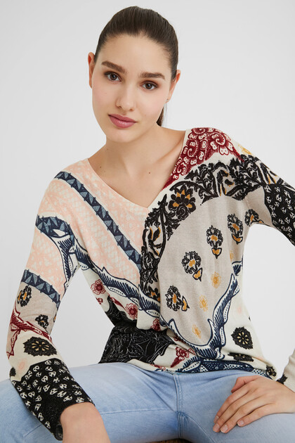Pull maille floral