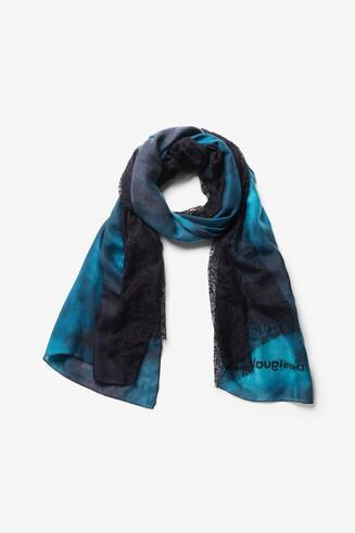 Foulard rectangulaire bleu