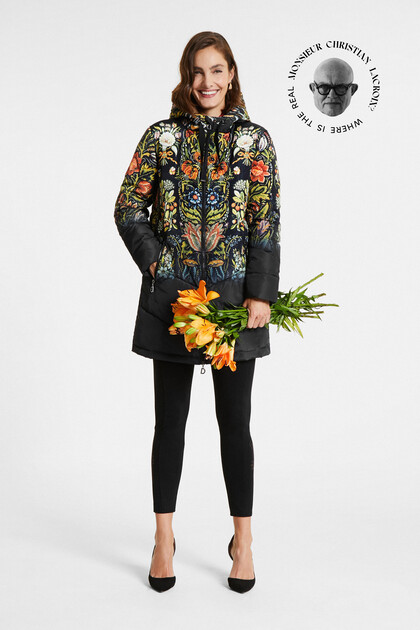 Loose embroidered and printed jacket