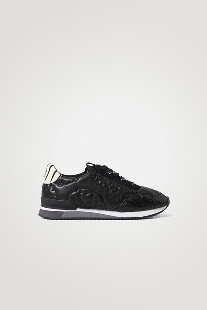 Synthetic leather running sneakers embossed