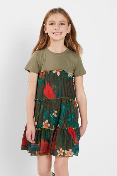 T-shirt dress flounces flowers   Desigual