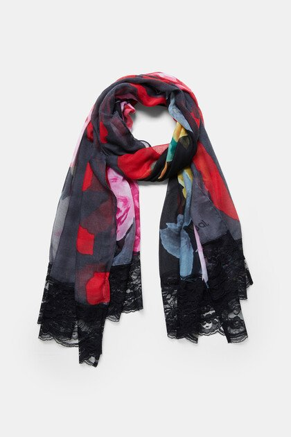 Foulard floral and lace trim