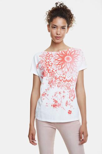 曼荼羅模様&花柄 プリントTシャツ