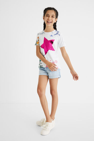 Printed T-shirt reversible sequins | Desigual