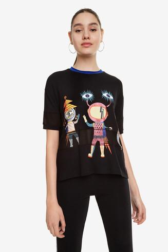 Shirt mit Robotern und Glitzer Neon