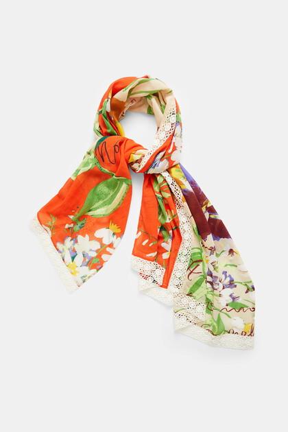 Rectangular foulard bicolour lace