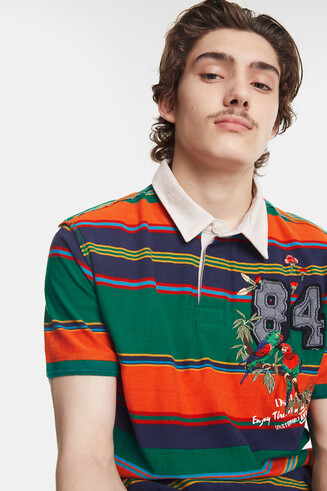 Striped polo shirt with patch and embroidery