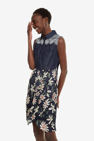 Denim and Floral Fabric Dress Aloha