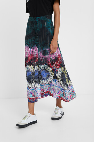 Long skirt tie-dye mandalas