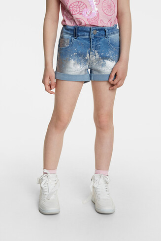 Laminated denim shorts