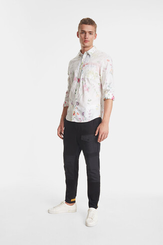 Floral shirt fabric inside out
