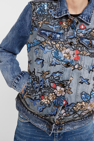 Veste en jean imprimé floral