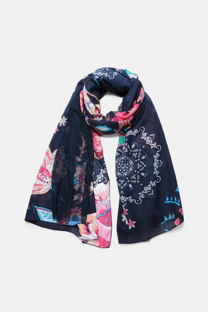 Double print rectangular foulard