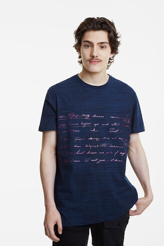 Pink calligraphic text T-shirt