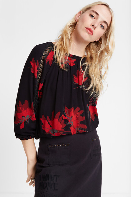 Blouse maille fleurie