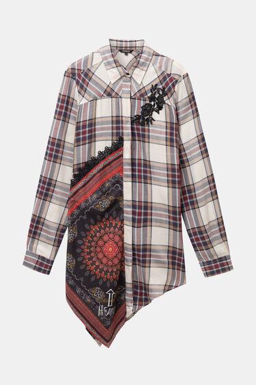 Asymmetric tartan shirt   Desigual
