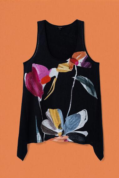 T-shirt fleuri à bretelles