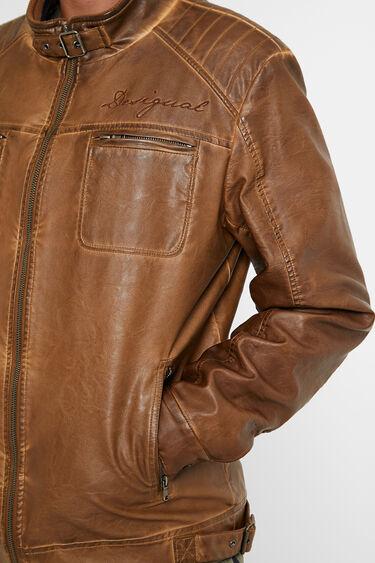 PU leather motard jacket | Desigual