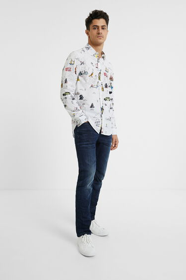 Slim fit map T-shirt | Desigual