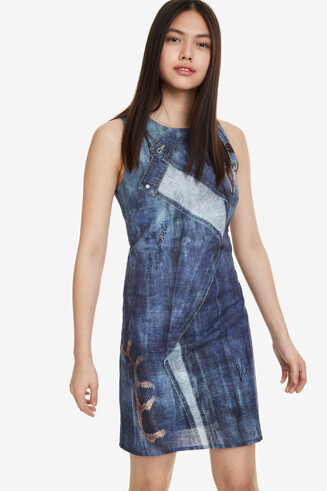 Slim-cut sleeveless denim dress Denia