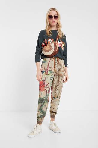 Bluzka typu kimono z nadrukiem w stylu orientalnym