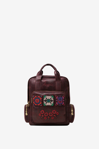 Embroidered Synthetic leather backpack