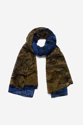 Rectangular arty faces scarf