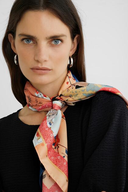 Square foulard oriental flowers