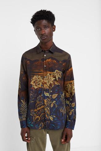 Koszula z motywem kwiecistego pejzażu