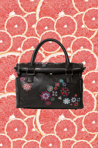 Black briefcase bag embroidered