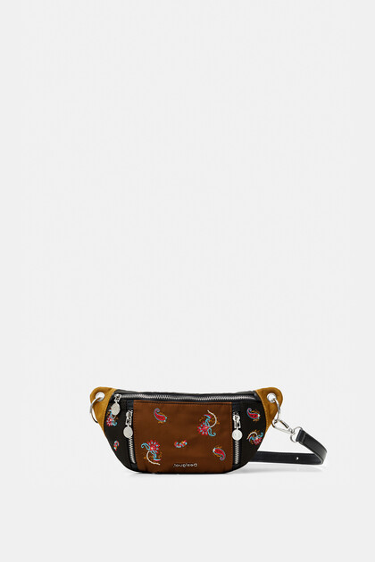 Bicolour paisley bum bag zippers