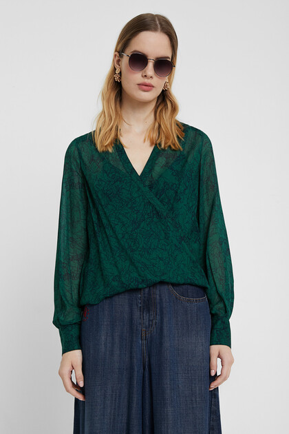 Cross front double blouse