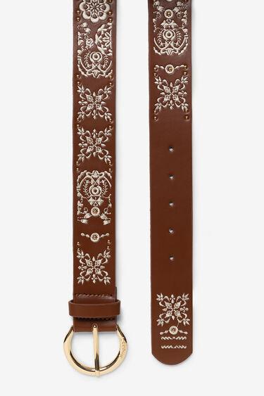 Cinturó de cuir marró i floral | Desigual