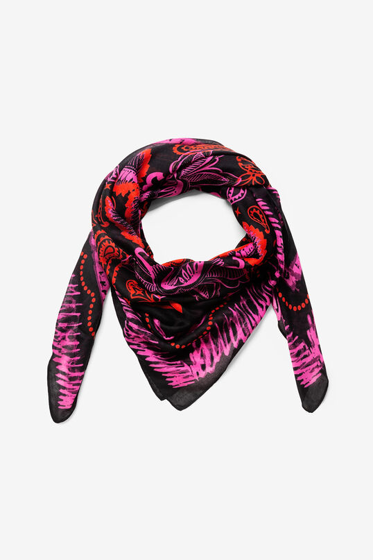 Galactic floral print rectangular scarf | Desigual
