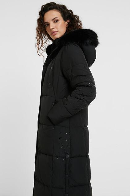 Long straight padded coat mandalas