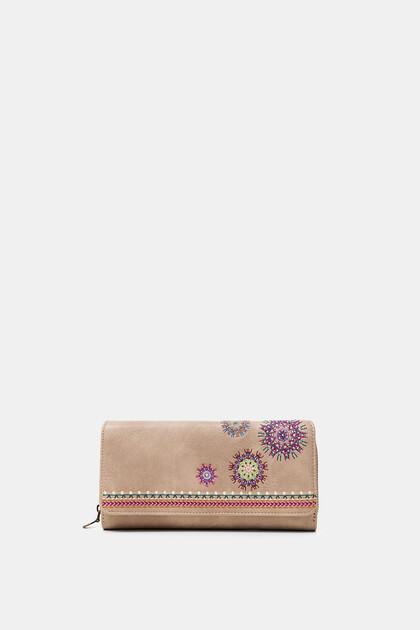 Portefeuille rectangulaire rabat brodé