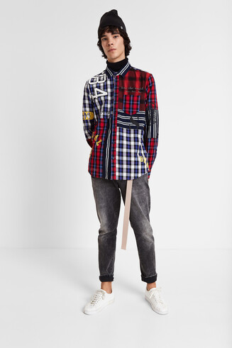 T-shirt patchwork tartan