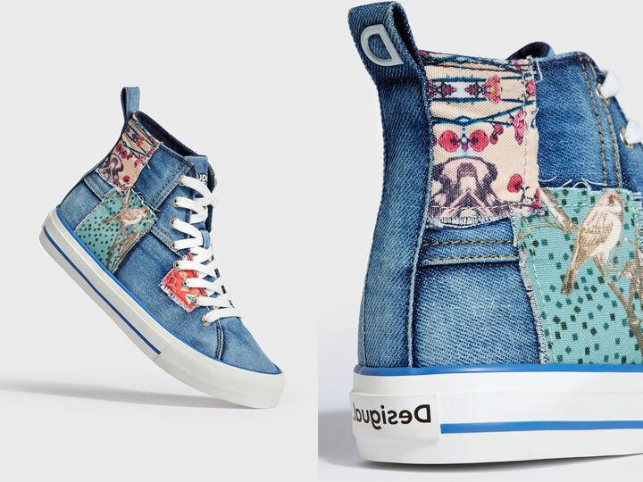 High-top sneakers denim patch