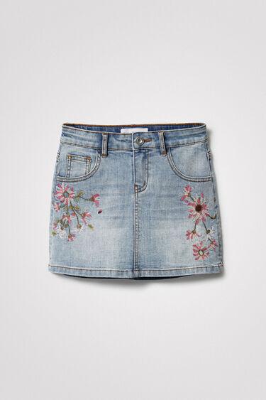 Falda corta vaquera flores | Desigual