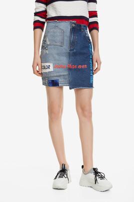 Slogans Short Denim Skirt Upside Down